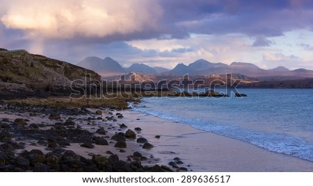 Sands Beach near Gairloch with view of the Torridon mountains in the Scottish Highlands. - stock photo