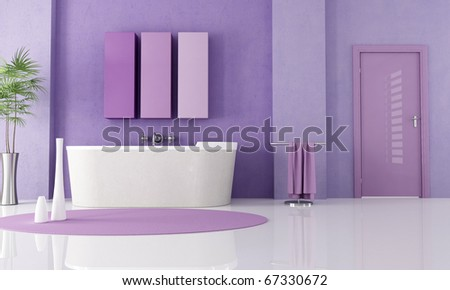 sandstone bathtub in a lilla bathroom - rendering - stock photo