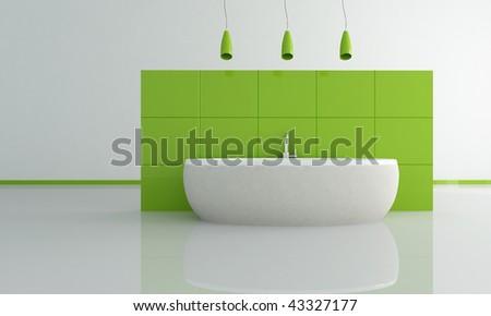 sandstone gray bathtub against green panel - rendering - stock photo