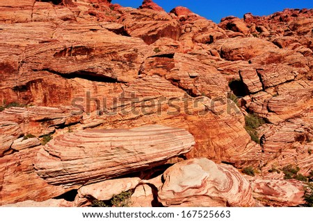 sandstone landscape in Red Rock Canyon National Conservation Area, Nevada, United States - stock photo