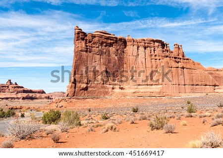 sandstone monuments at Park Avenue in Arches National Park, Utah, USA  - stock photo