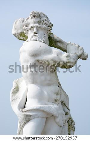 Sandstone statue of Hercules (1708), Herrenhausen Gardens, Hannover, Europe - stock photo