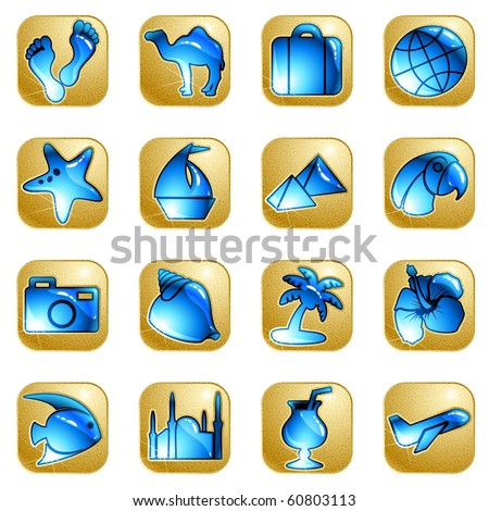 Sandstone vacation icons (jpg); Eps10 version also available - stock photo