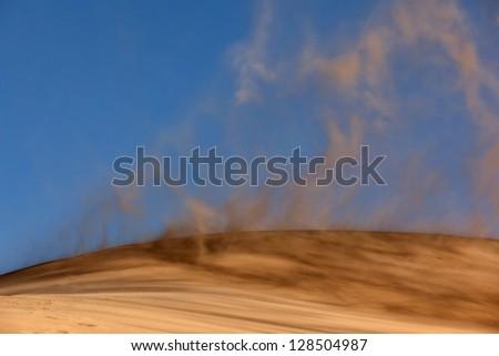 Sandstorm in desert national park Altyn-Emel, Kazakhstan - stock photo