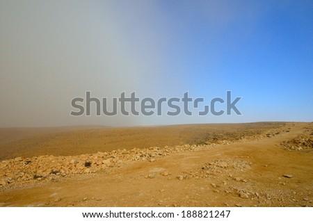 Sandstorm in the Negev desert. Israel - stock photo