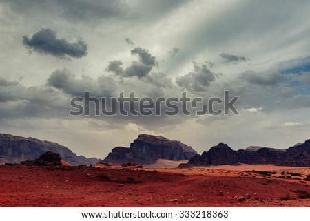 Sandstorm in Wadi Rum desert - stock photo