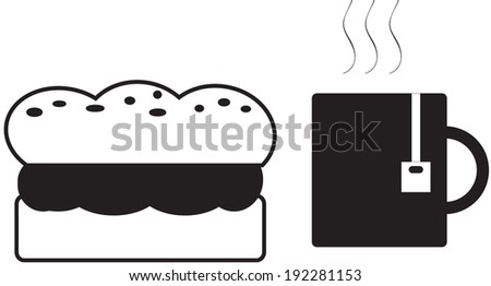 sandwich and cup of warm tea - stock photo