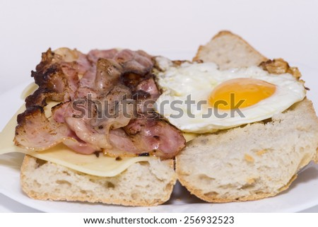 Sandwich bacon, cheese and fried egg. - stock photo