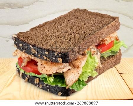 Sandwich, Chicken, Chicken Sandwich. - stock photo