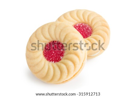 sandwich cookies with strawberry cream on white background - stock photo
