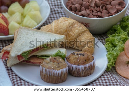 Sandwich for breakfast. - stock photo
