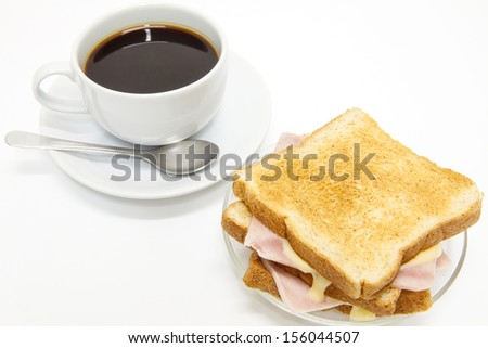 Sandwich ham cheese and coffee. - stock photo