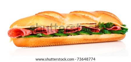 Sandwich isolated on white - stock photo