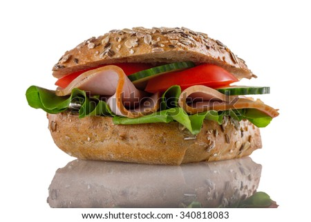 sandwich isolated on white background - stock photo