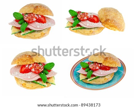 sandwich isolated on white in different perspectives - stock photo