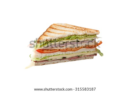 sandwich on a white background big sandwich with sweet pepper, bacon and cheese on a white background - stock photo
