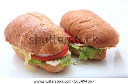 sandwich on white background - stock photo