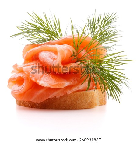 sandwich or canape with salmon on white background  cutout - stock photo