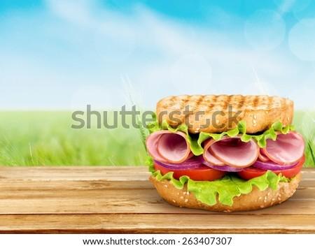 Sandwich. Rustic Black Forest Ham Sandwich - stock photo