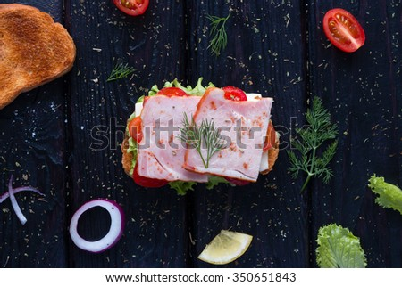 sandwich surrounded by ingredients on a black background - stock photo