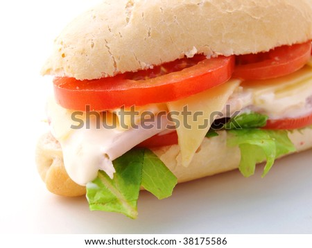 sandwich wit ham, cheese, tomatoes and lettuce - stock photo