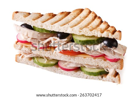 Sandwich with chicken and vegetables close-up isolated on white background  - stock photo