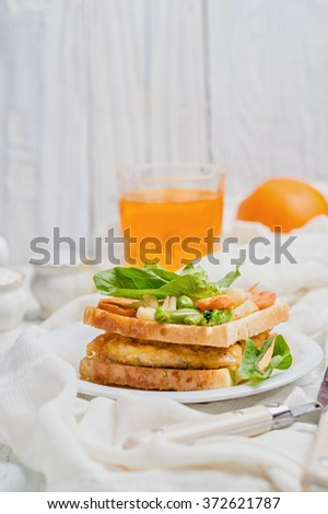sandwich with chicken chops and vegetables - stock photo