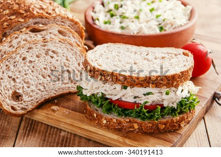 sandwich with chicken salad tomato - stock photo