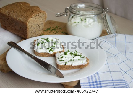 Sandwich with cottage cheese and chives - stock photo