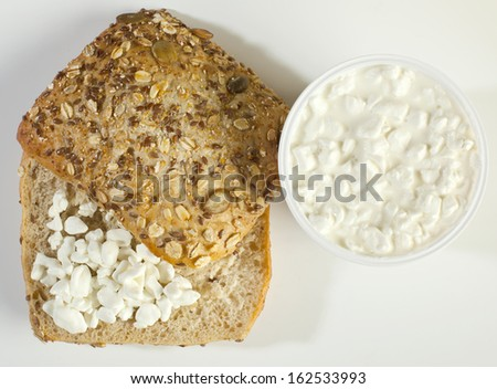 sandwich with fresh cottage cheese - stock photo