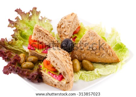 Sandwich with fresh vegetables, salami and cheese on plate. - stock photo