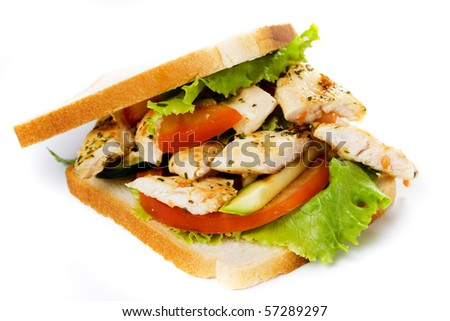 Sandwich with grilled chicken breast isolated on white background - stock photo