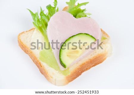 sandwich with ham - stock photo