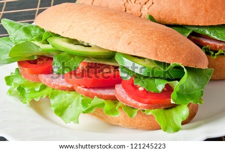 Sandwich with ham, tomato, cucumber and arugula on the white plate - stock photo