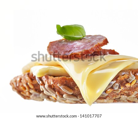Sandwich with melted cheese and salami sausage - stock photo