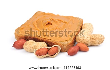 sandwich with peanut butter on a white background - stock photo