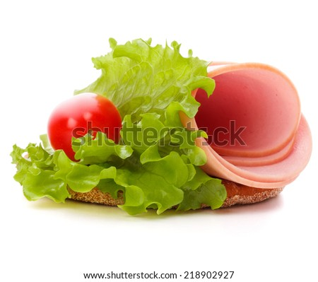 sandwich with pork ham on white background  cutout - stock photo
