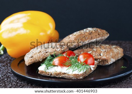 sandwich with ricotta and tomatoes - stock photo