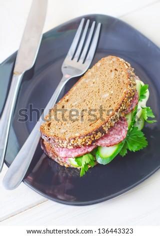 sandwich with salami - stock photo