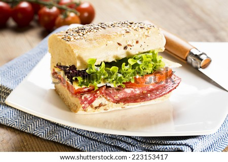 sandwich with salami, lettuce, cheese and tomato - stock photo