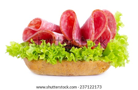 Sandwich with salami sausage isolated on white background - stock photo