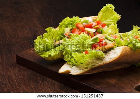 sandwich with salsa mexicana and cottage cheese - stock photo