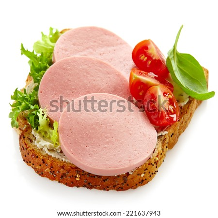 sandwich with sliced sausage isolated on a white background - stock photo