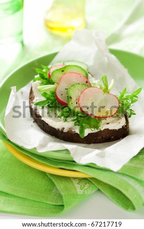 Sandwich with soft cheese ,radish and cucumber on the plate - stock photo