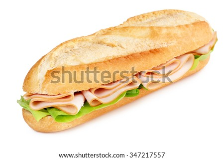 sandwich with turkey breast and lettuce isolated on white - stock photo