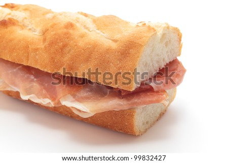 Sandwich with uncured ham - stock photo