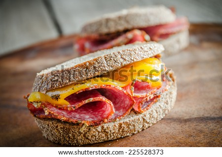 Sandwiches with italian salami and roasted pepper - stock photo