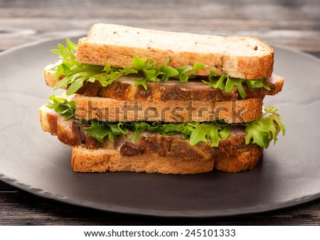 sandwiches with Roasted pork - stock photo