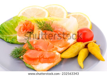 Sandwiches with salmon fillet on gray plate isolated on white background. - stock photo