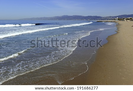 Sandy Beach and Surf near Los Angeles in Southern California - stock photo